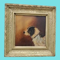 Diminutive Antique Oil Painting of Dog in Profile on Artist Board