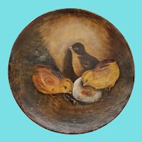 Antique ca. 1890's Folk Art Painting on Papier Mache of 3 Chicks & Hatching Egg
