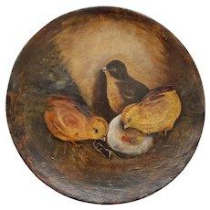 Antique ca. 1890's Folk Art Painting on Papier Mache of 3 Chicks & Hatching Egg