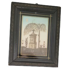 Mid 19th C. Folk Art Memorial Picture Made from Hair w/Reverse Painting