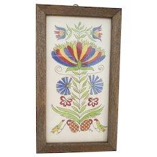 Vintage PA. Folk Art Fraktur Watercolor w/Flowers Birds