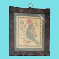 Vintage David Ellinger Fraktur Watercolor of Parrot in Original Faux Painted Frame