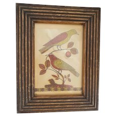 Antique Printed Fraktur of 2 Red & Yellow Birds on Cherry Tree Branch
