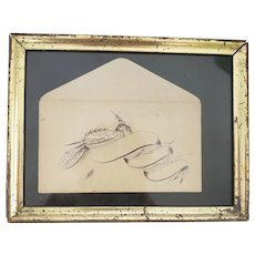 Antique 19th C. Framed Bird Calligraphy Drawing on Envelope