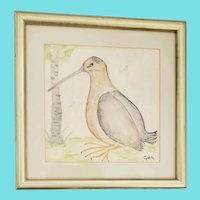 "Late 19th-Early 20th C. Folk Art Watercolor of Kiwi Bird Signed ""GHG"""