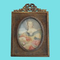 Diminutive Antique Painting of 18th C. Maiden in Brass & Velvet Frame