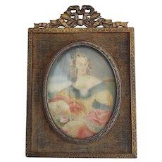 Diminutive Antique Painting of 18th C. Maiden in Brass & Velvet Frame