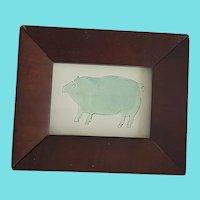 Diminutive Antique ca. 1840-1860 Lancaster PA. Folk Art Pig Watercolor