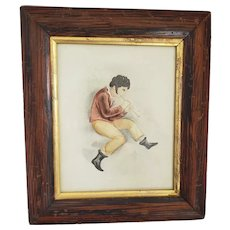 Antique Ca. 1820's-30's Watercolor of Boy Playing Flute in Faux Painted Frame