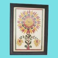 Vintage PA. Folk Art Gouache Fraktur Painting of Stylized Sunflower