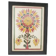 Vintage PA. Folk Art Gouache Fraktur Painting of Stylized Sunflower