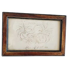 Antique Dated 1880 Elaborate Bird Calligraphy Drawing