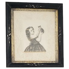 Antique Victorian Folk Art Watercolor Portrait of Young Girl & Her Kitten on Embossed Paper