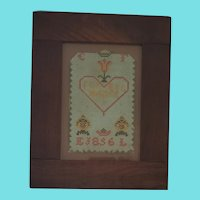 Antique Dtd. 1856 Lancaster Co. PA. Framed Needlework Love Token