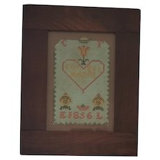 Antique Dtd. 1856 Lancaster Co. PA. Framed Needlework Love Token
