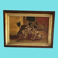 Late 19th C. Victorian Folk Art Oil on Canvas of Dogs w/Brooms & Shovel Cleaning Street