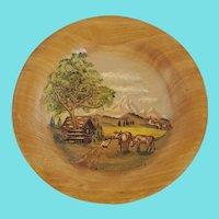 Vintage Signed German Folk Art Farm Scene Painting on Wooden Plate