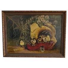 Antique Signed & Dated 1912 Folk Art Painting of Baby Chicks