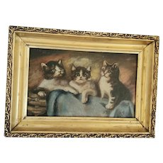 Diminutive Vintage Signed 1935 Folk Art Painting of 3 Kittens from my Collection