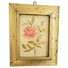 Diminutive 19th C. Folk Art Theorem Painting of Pink Roses