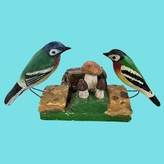 Pair of Wall Hung Vintage Folk Art Carved & Painted Birds