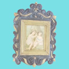 "Unusual Vintage Hand Carved & Painted Frame w/Victorian Print of 2 Young Girls ""Friends"""