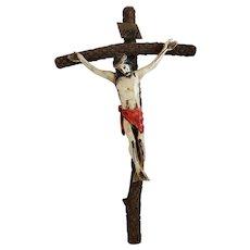 Unusual Vintage Folk Art Hand Carved & Painted Crucifix w/Cactus Cross