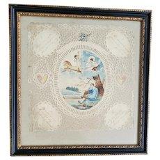 Extremely Rare Early 19th C. Folk Art Scherenschnitte Valentine w/ Hand Painted Scene & Poem