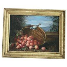 "Vintage Signed ""T. Edward"" Folk Art Painting of Bluebird & Spilled Basket of Strawberries"