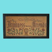 "Antique Folk Art ""Happiness Makes Friends"" Fraktur by Carl Peters of Watertown, Ohio"