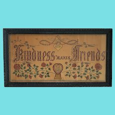 """Antique Folk Art """"Happiness Makes Friends"""" Fraktur by Carl Peters of Watertown, Ohio"""