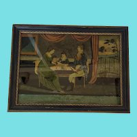 "Rare Signed Early 19th C. Folk Art Reverse Painting of Family Titled ""Happiness"""