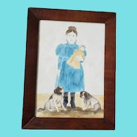 Vintage Folk Art Watercolor Painting of Girl w/Doll & Dogs by Jacquelyn Trone