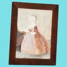 Vintage Folk Art Watercolor Painting of Colonial Woman by Jacquelyn Trone