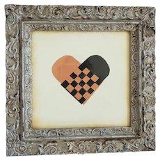 Vintage Folk Art Framed Large Woven Heart Love Token Valentine
