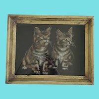Vintage Framed Folk Art Painting of 2 Kittens on Black Velvet