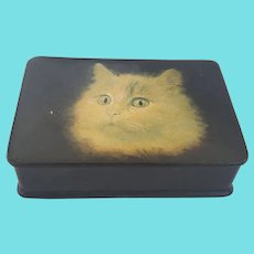 Antique Papier Mache Snuff Box with Cat Design