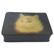 Antique Papier Mache Snuff Box with Cat Design