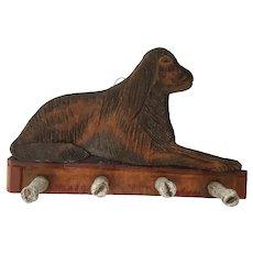 Small Vintage Folk Art Dog Design Peg Rack w/Bone Form Pegs