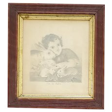 """Antique 19th C. Folk Art Drawing of Girl & Rabbits Titled """"The Pet Rabbits"""""""