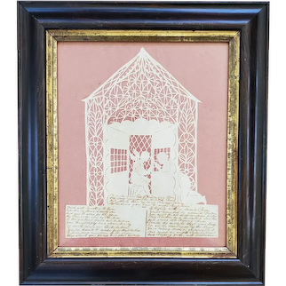 19th C. Folk Art Scherenschnitte of Angel & Kneeling Figure w/Handwritten Prayer