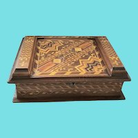 """Outstanding Dtd. 1885-86 Book Form Profusely Inlaid Marquetry Box Signed """"Hope"""""""