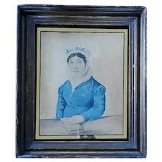 Antique 19th C. Folk Art Gouache Painting of Woman w/Book & Original Eglomise Glass