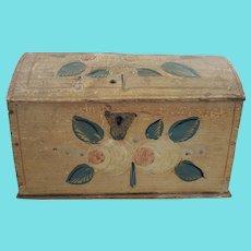 Rare 19th C. Folk Art Floral Design Dome Top Box w/Original Snipe Wire Hinges & Lock