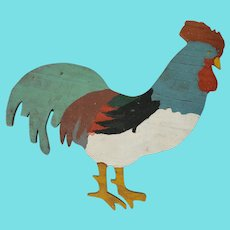 Vintage Primitive Folk Art Painted Wood Rooster Plaque from my Collection