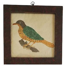 Antique Naive Folk Art Bird Watercolor Painting in Faux Painted Frame
