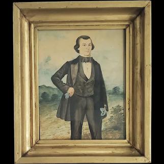Antique Mid 19th C. Folk Art Watercolor & Ink Portrait of Dapper Gentleman Named W.A. Zeller