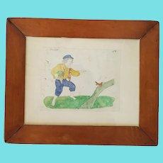 19th C. Naive Folk Art Watercolor & Pencil Picture of Boy w/Salt & Bird