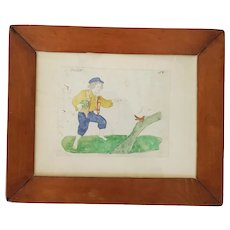 19th C. Naive Folk Art Watercolor & Pencil Picture of Boy w/Salt & Bird