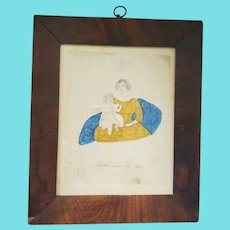 """Antique 19th C. Naive American Folk Art Pencil & Watercolor Depiction of """"Mother and her Babe"""""""